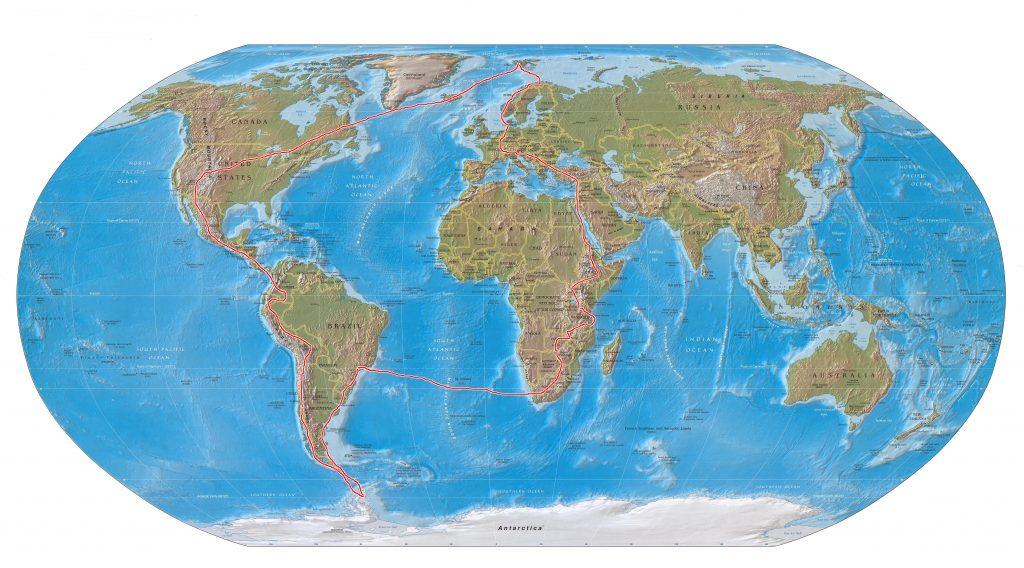 mapa-mundi rota polo a polo