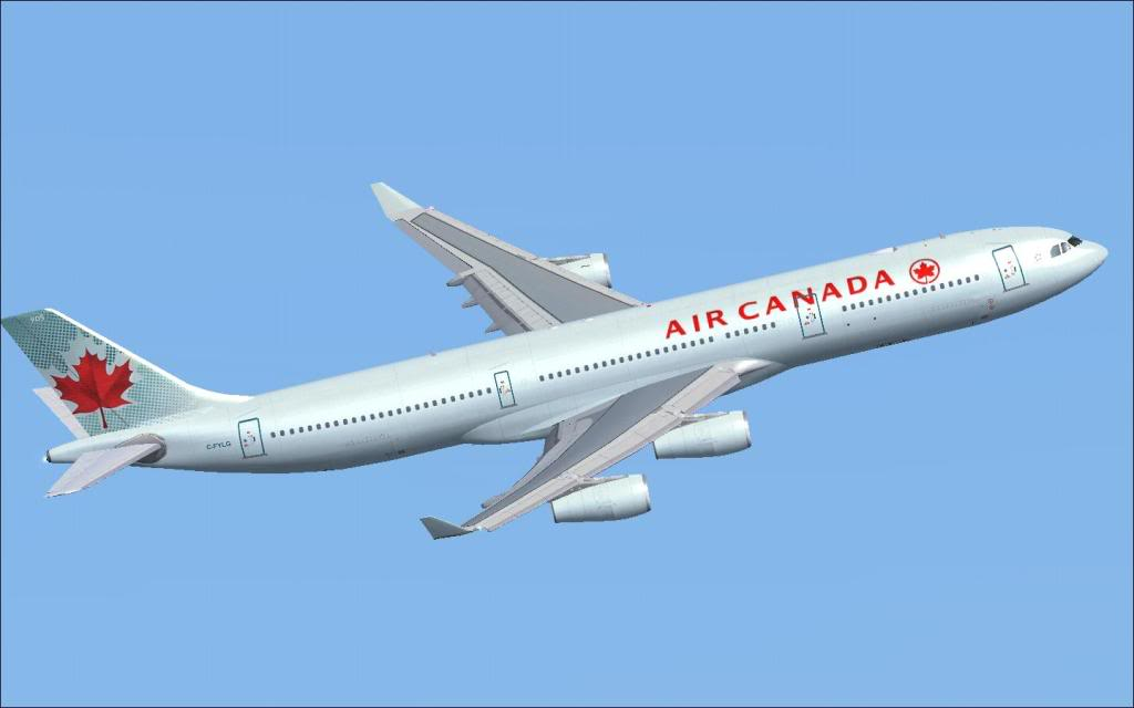 Voando com a Air Canada.